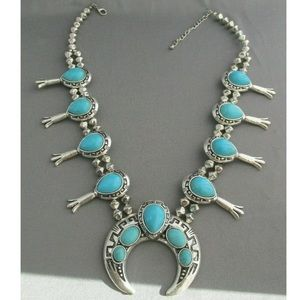 Vintage Old Pawn Style Silver Faux Turquoise